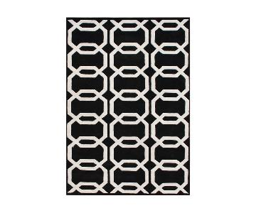 Alliyah Hand-Tufted Black Floridly New Zealand Wool Rug