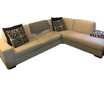 White Leather 2-Piece Sectional Sofa