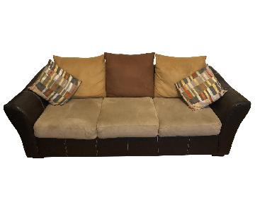 Raymour & Flanigan Black & Neutral Leather Microsuede Sofa