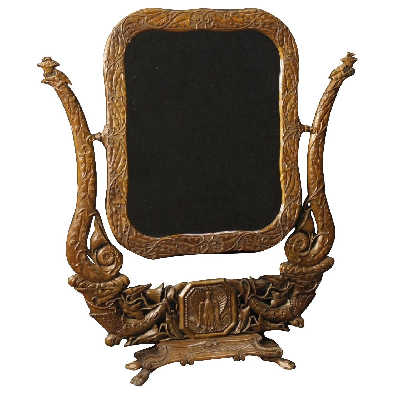20th Century Wood French Art Nouveau Style Cheval Mirror