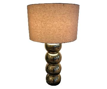 Anthropologie Gold Circles Table Lamp w/ Shade
