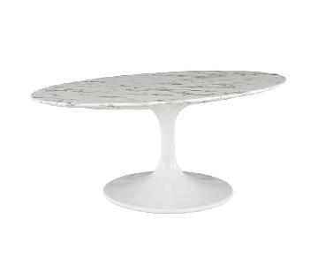 Modway Faux Marble Oval Coffee Table