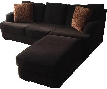 Brown Fabric Sofa U0026 Ottoman ...