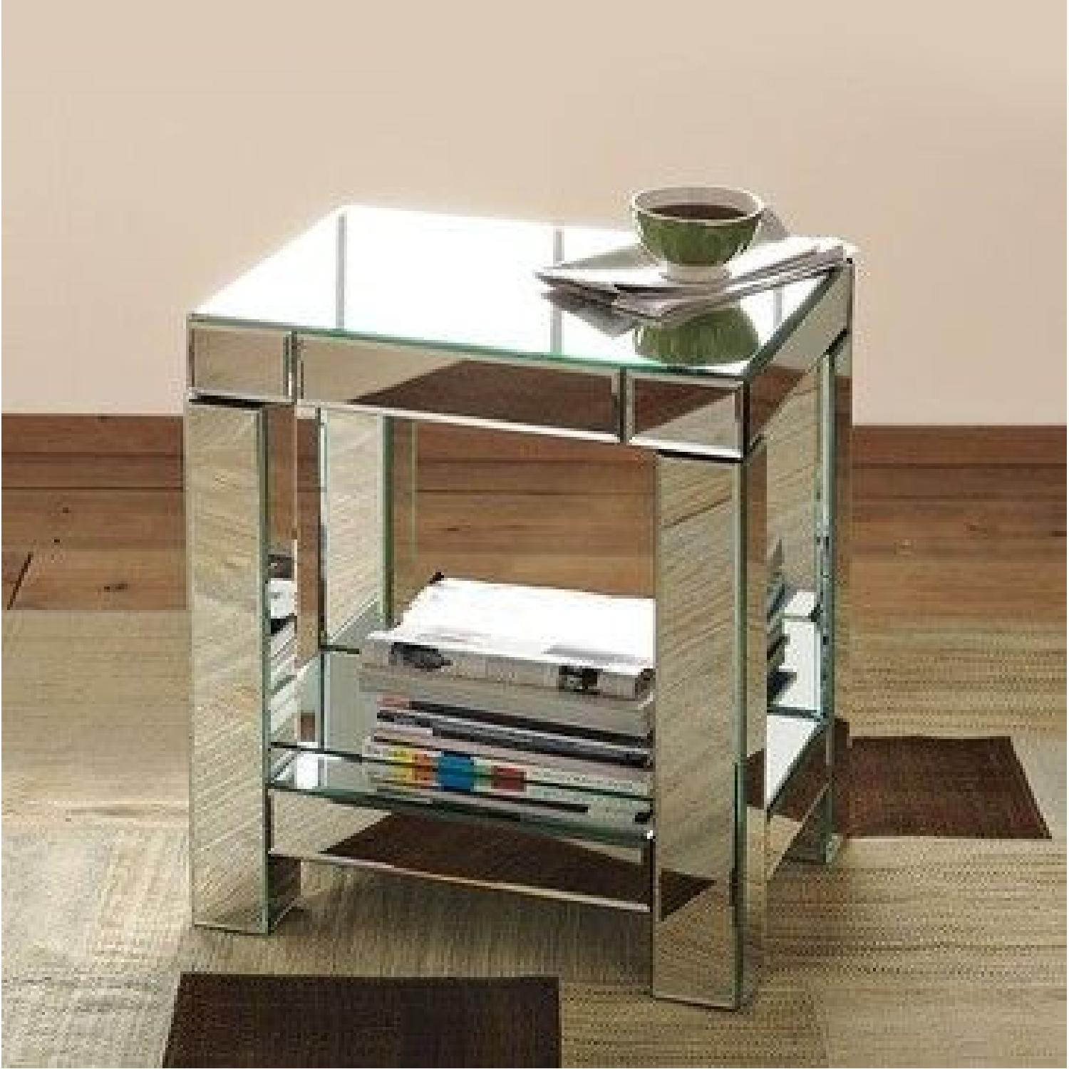 West Elm Mirrored Parsons End TableNightstand AptDeco - West elm parsons end table