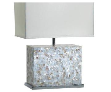 Mother of Pearl Shell Tile & Polished Chrome Table Lamp
