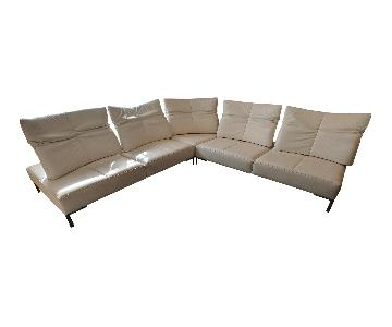 De Sede 5-Piece White Leather L-Shaped Sectional Sofa