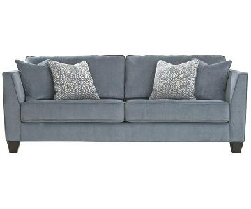 Ashley Cobalt Blue Sciolo Sofa + Chaise
