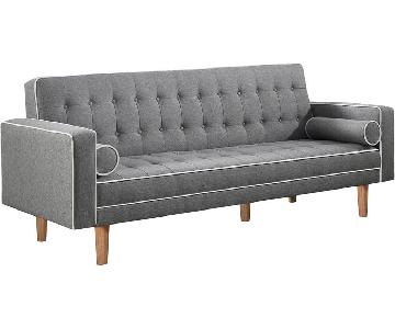 Modern Sofabed w/ Tufted Button Design & White Piping