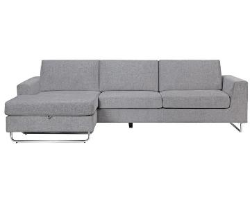 Modern Sectional in Grey Fabric w/ Reversible Chaise