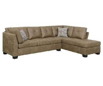 Brown Microfiber Sectional Sofa w/ Reversible Chaise