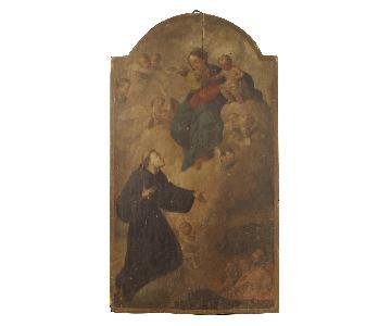 18th Century 1780 Oil On Panel Italian Religious Painting