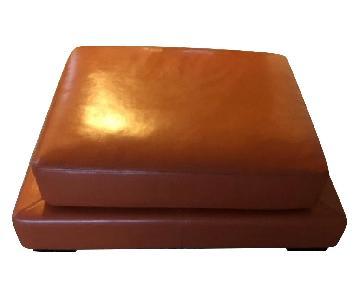 Orange Leather Ottoman