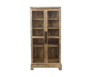 West Elm Reclaimed Wood & Glass Cabinet