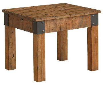 Rustic Side Table w/ Distressed Wood Finish & Metal Accent