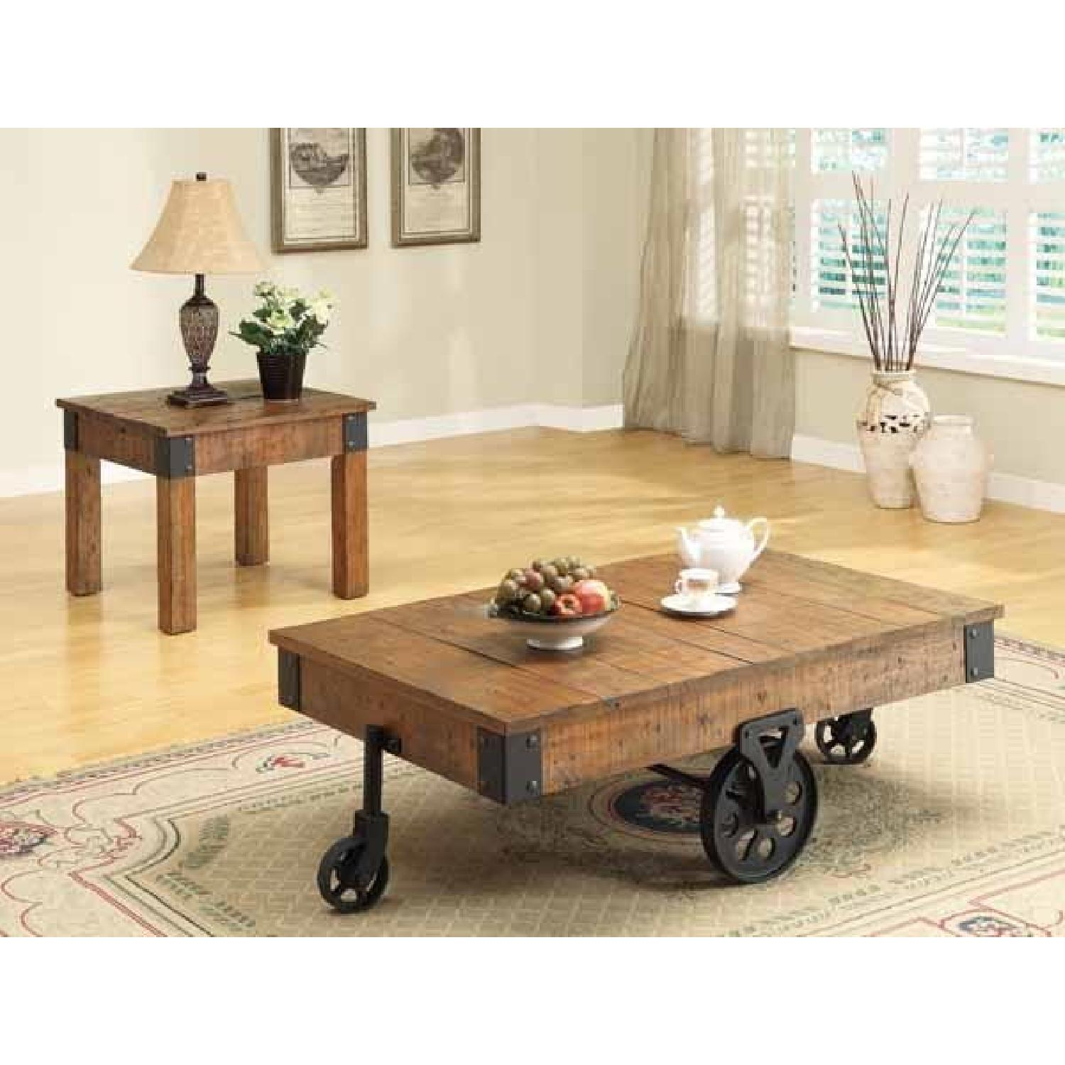 ... Rustic Side Table W/ Distressed Wood Finish U0026 Metal Accent 0 ...