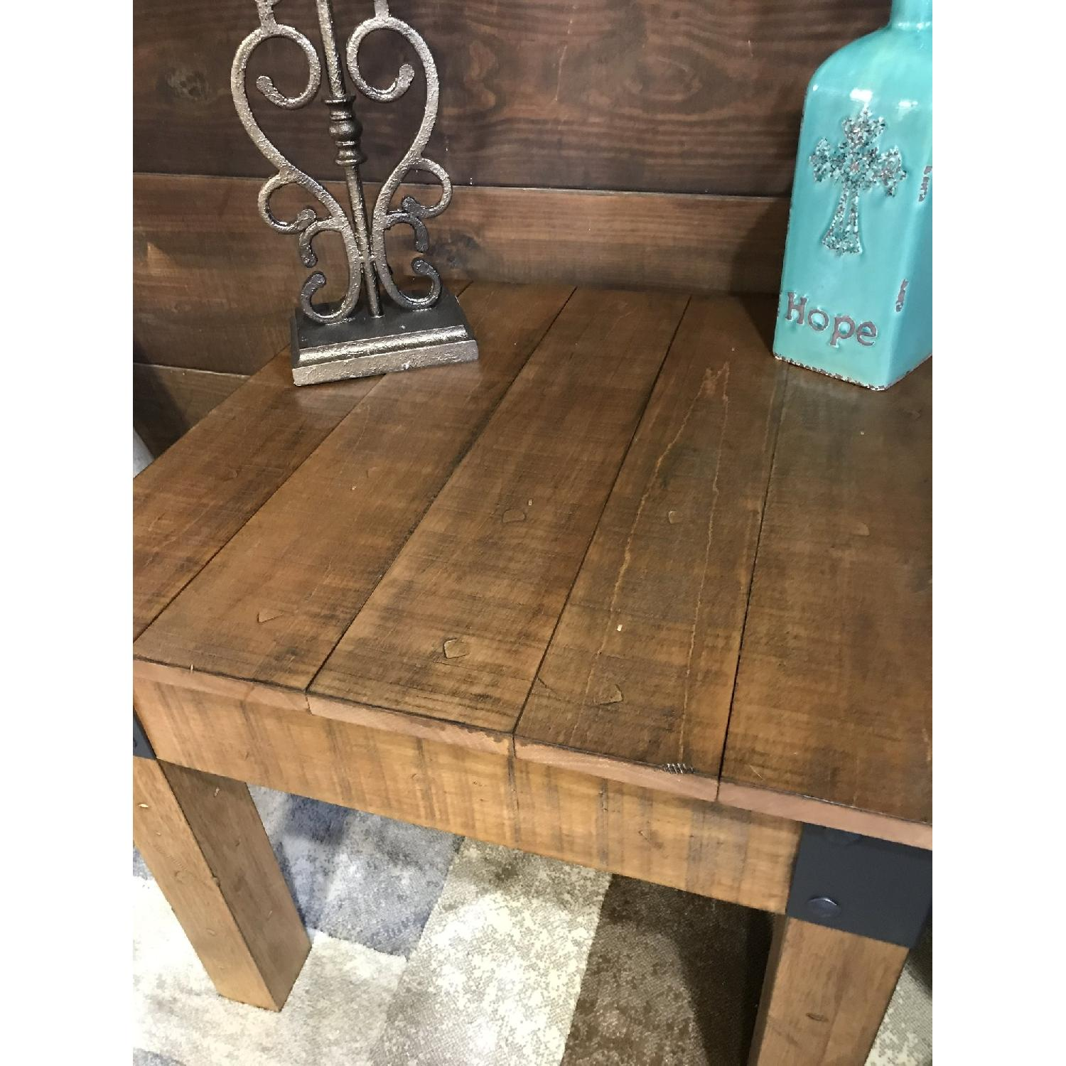 ... Rustic Side Table W/ Distressed Wood Finish U0026 Metal Accent 1 ...
