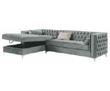 Light Grey Silver Tone Velvet 2-Piece Sectional Sofa