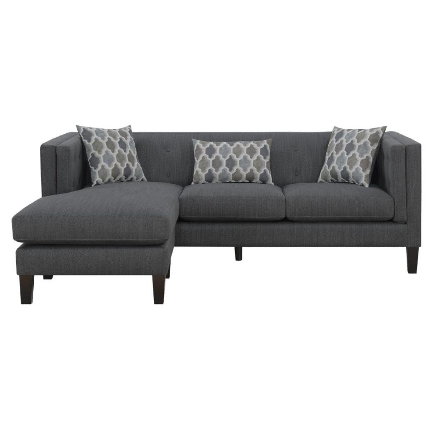Dusty Blue Modern Sectional Sofa w/ Tufted Back