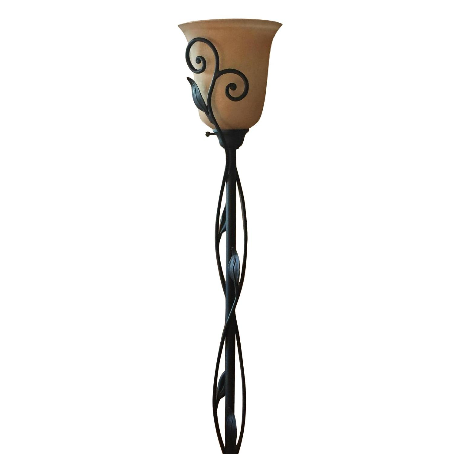 Torchiere Floor Lamp w/ Amber Glass Shade
