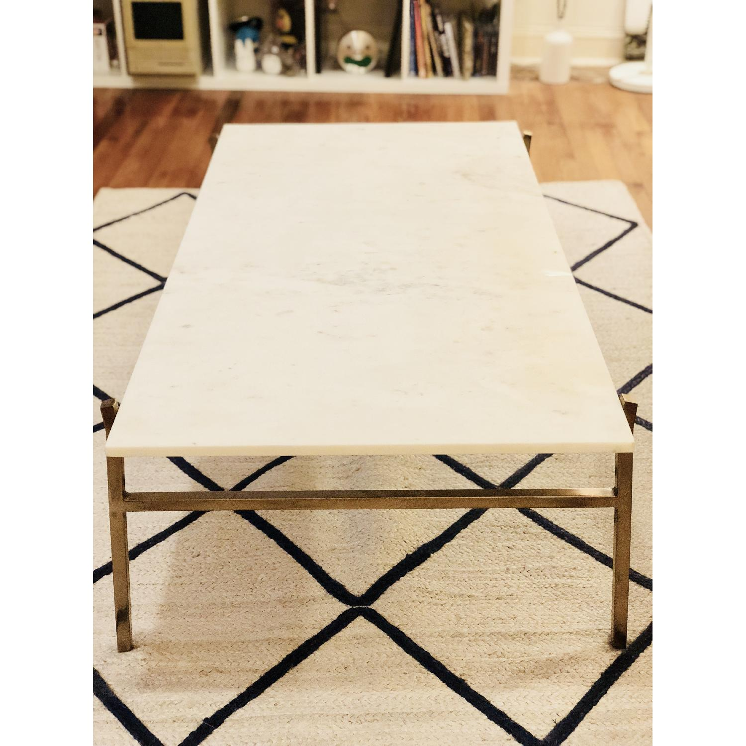 CB Slab Large Marble Coffee Table W Brass Base AptDeco - Cb2 slab marble coffee table