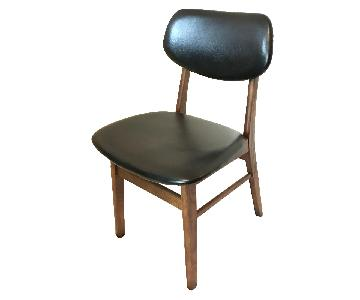 Black Leather & Wood Chair