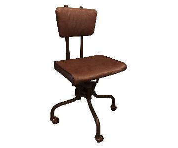 Vintage Leather & Metal Rolling Swivel Office Chair