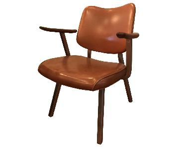 Leather Metal & Wood Chair