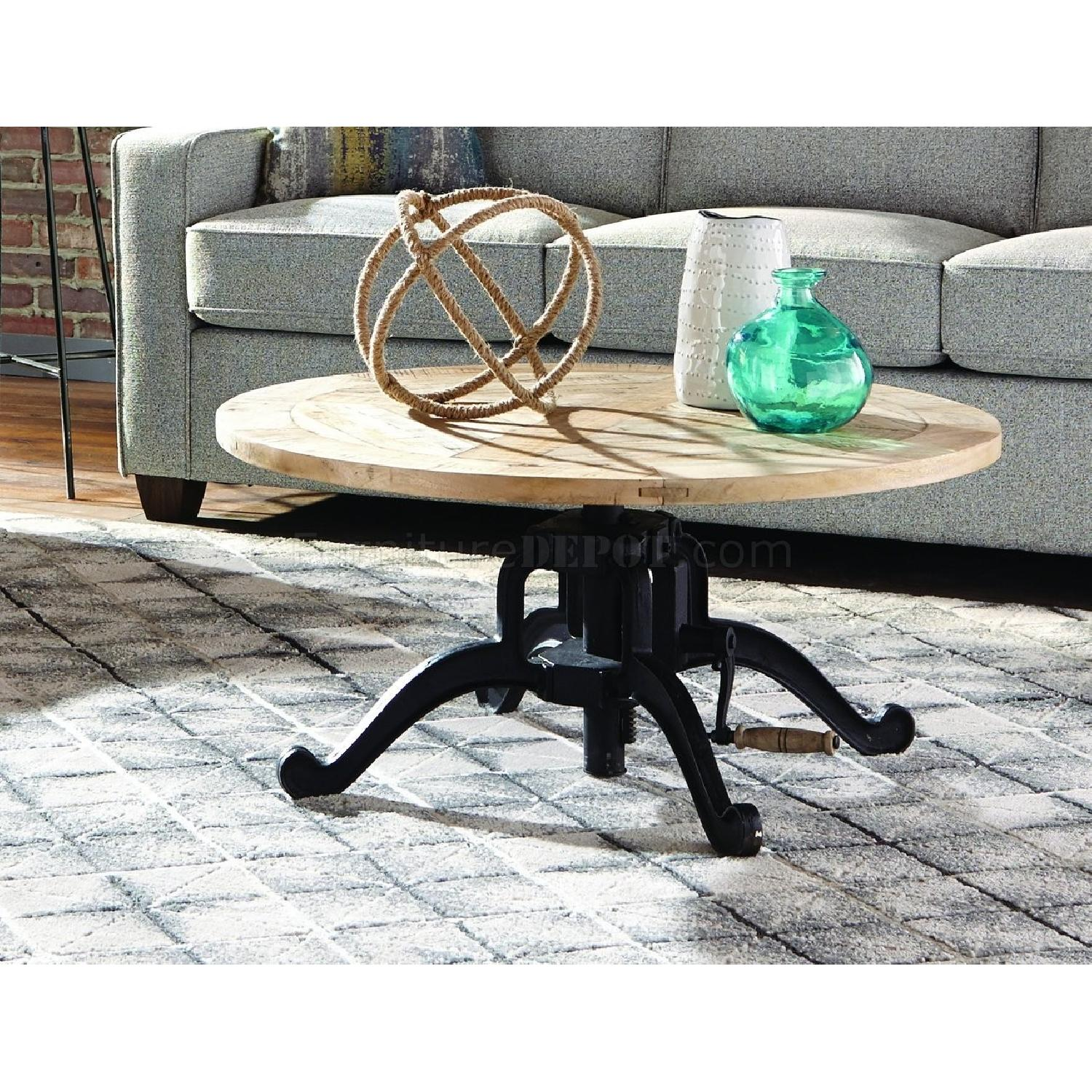 Natural Wood Top Coffee Table w/ Decorative Legs