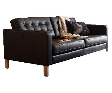 Ikea Landskrona Dark Brown Leather Sofa