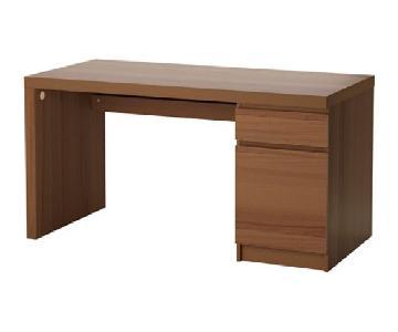Ikea Malm Desk w/ Drawer & Storage in Brown Ash Veneer