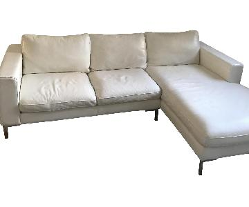Modern Leather Low Profile Sectional Sofa & Ottoman