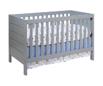 Babyletto New Zealand Pine Wood Convertible Crib in Grey