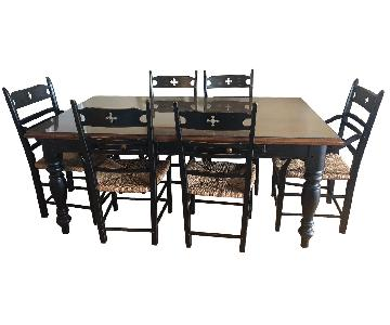 Two Tone Glass Top Country Table w/ 6 Chairs