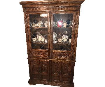 Huffman Koos Solid Oak China Cabinet