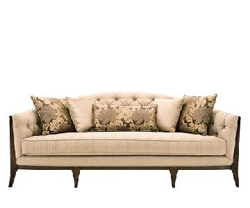 Raymour & Flanigan Tufted Beige Sofa w/ Wood Accents