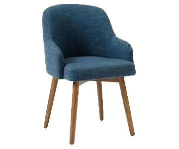 West Elm Saddle Dining Chairs in Regal Blue