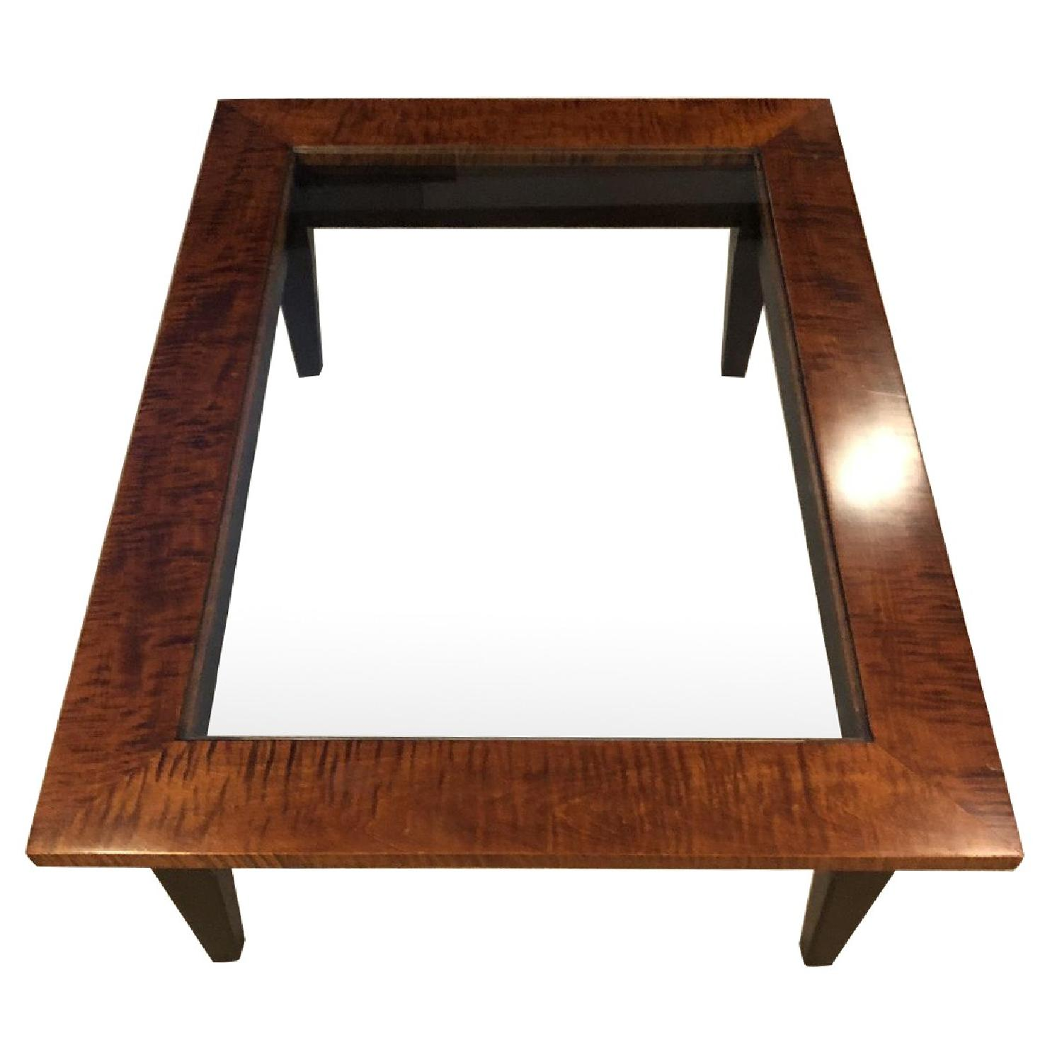 Tiger Maple Glass Coffee Table W Shaker Leg Design AptDeco - Maple and glass coffee table