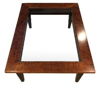 Tiger Maple & Glass Coffee Table w/ Shaker Leg Design