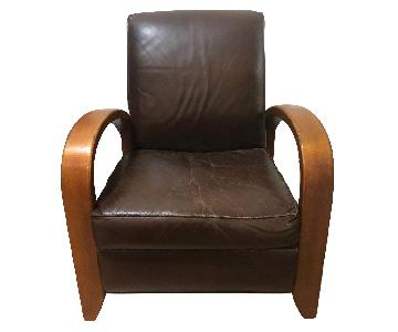 Restoration Hardware Brown Leather Recliner Chair