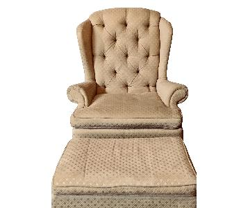 Tufted Wingback Chair w/ Footstool