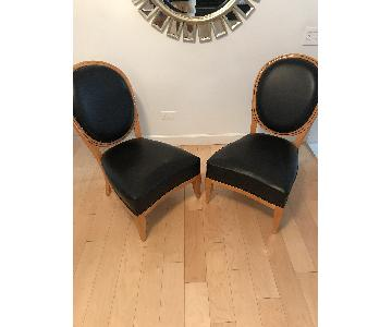 Biedermeier Leather & Wood Chairs