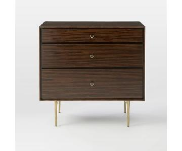 West Elm Heston Mid-Century 3 Drawer Dresser in Walnut Brown