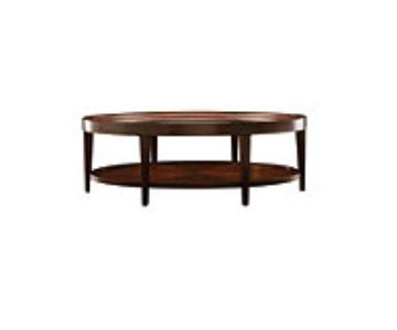 Raymour & Flanigan Wood Glass Oval Coffee Table