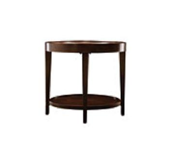 Raymour & Flanigan Oval Wood & Glass Side Tables