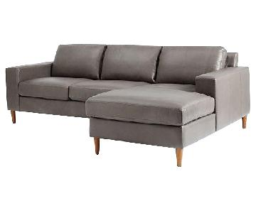 West Elm York Leather 2-Piece Sectional Sofa
