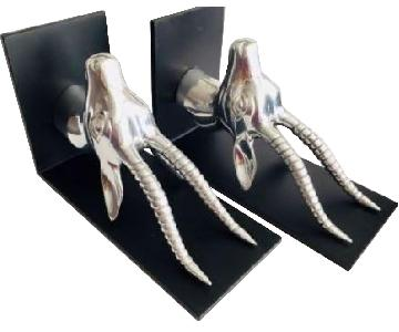 Vintage Pewter & Wrought Iron Gazelle Bookends