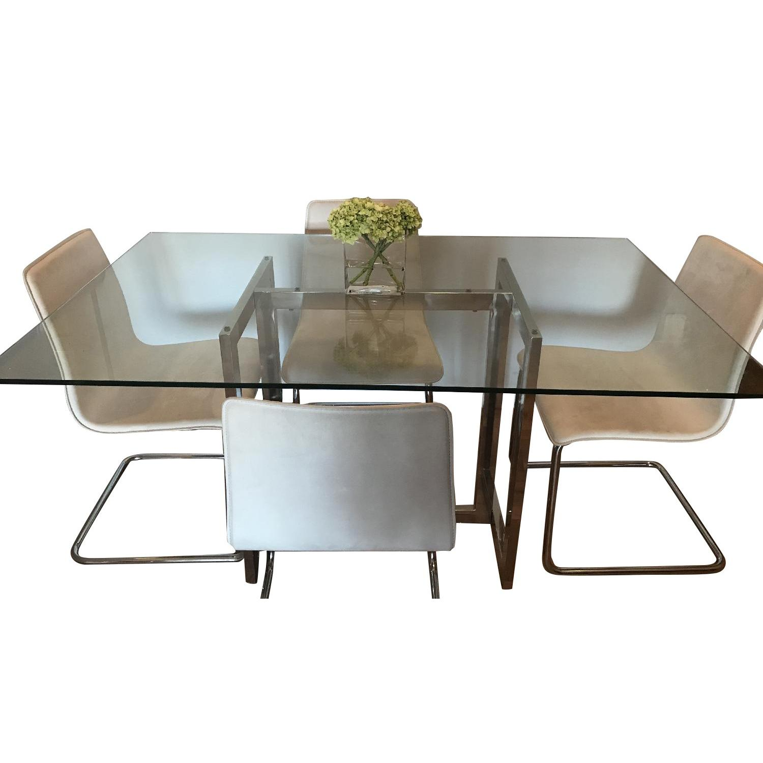 West Elm GlassChrome Dining Table W CB Chairs AptDeco   Cb2 Kitchen Table