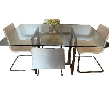 West Elm Glass/Chrome Dining Table w/ 4 CB2 Chairs
