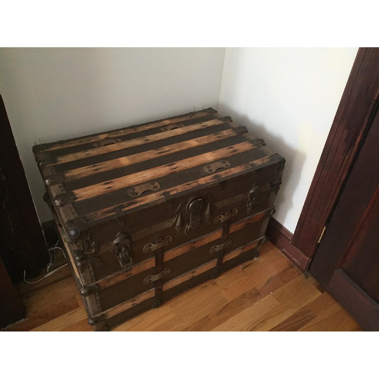 vintage wooden trunk w bronze accents aptdeco