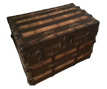 Vintage Wooden Trunk w/ Bronze Accents